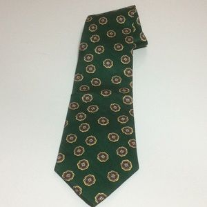 Burberry London Vintage Green Geometric Tie Silk